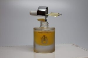 Miracle Face Oil is in a beautiful glass bottle