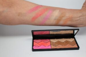 Sun Designer Palette 1-Tan and Flash Cruise left to right swatches : matte dark berry, shimmer neon coral, shimmer neon blue-pink, neutral beige matte, shimmer dark bronze, shimmer dark peach//apricot