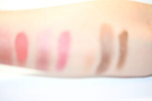 From left is a blush mixed with Master Mixer, and the actual blush color, and a lipstick mixed with Mix master, and the actual lipstick, and the actual color of Master Mixer, an eye shadow mixed with Master Mixer, and the original color shadow