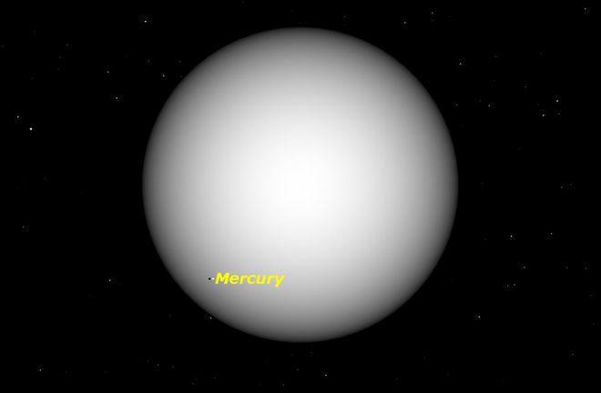 photo of Mercury beginning transit