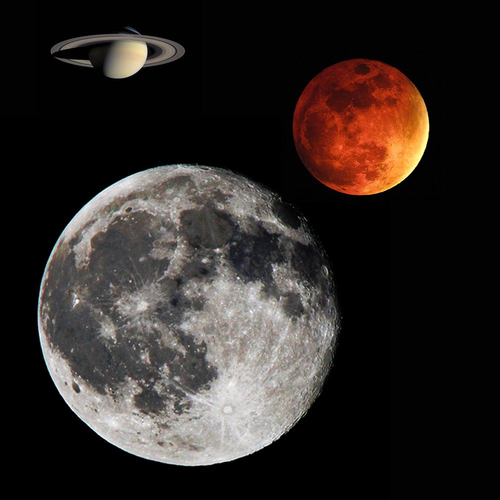 Look up at the full moon and on the right in front of the moon will be Planet Mars, and on the left in front of the full moon will be Planet Saturn