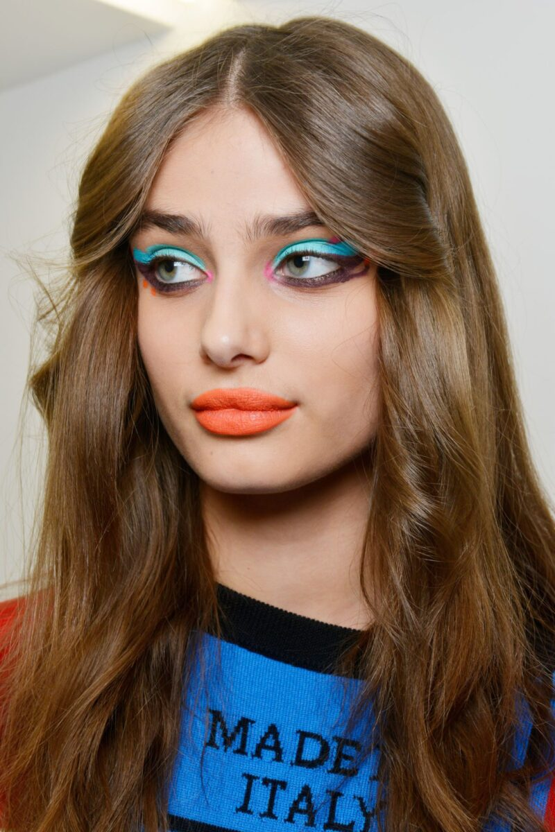 Neon Makeup on eyes and lips