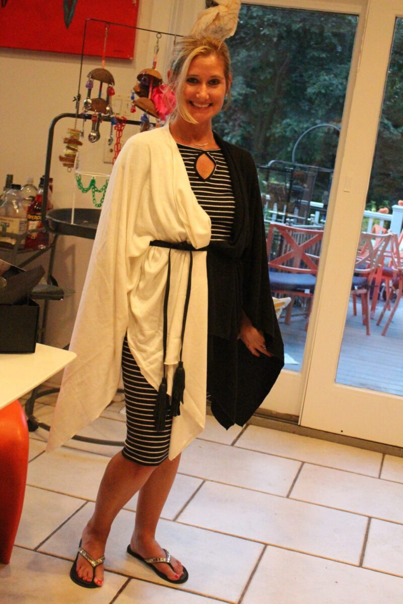 Awesome! Bikini - you look amazing in your Donni Charm Wonder Cape in Black and White! And there is nothing more classic than black and white.