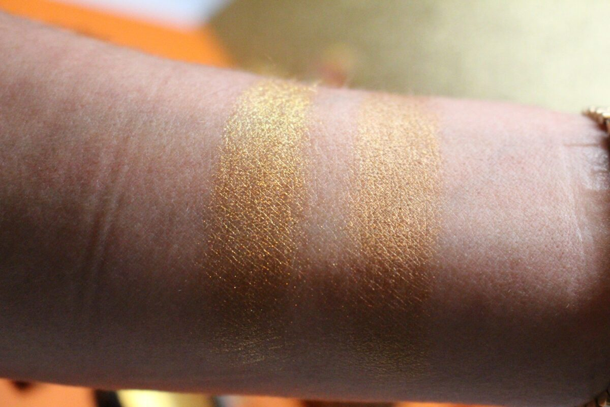 Swatch of 001 Gold Pigment on left and 005 Gold Cream on right