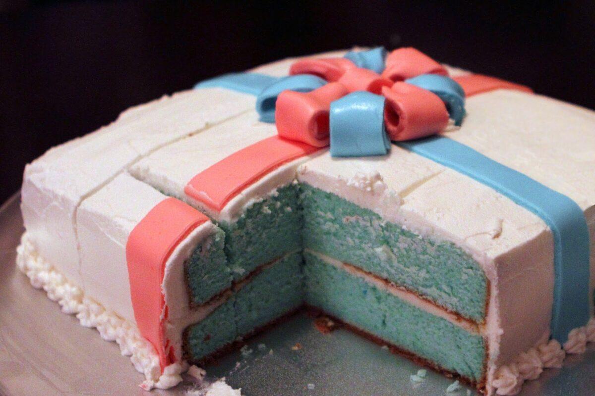Present Gender Reveal Cake
