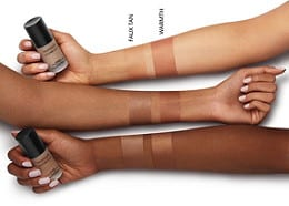 SWATCHES BAREPRO GLOW LIQUID BRONZER IN WARMTH AND FAUX TAN
