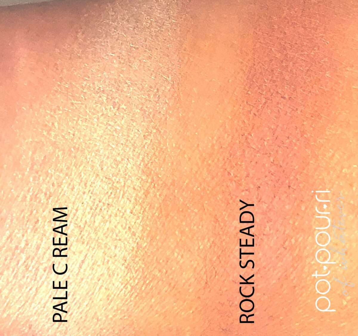 SWATCHES OF PALE CREAM, A BASE SHADE, AND ROCK STEADY, A CREASE TRANSITION SHADE