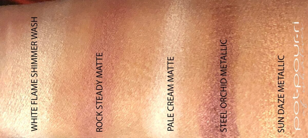 SWATCHES OF THE MATTE SHADES, THE SHIMMER WASH SHADE, AND THE METALLIC SHADES