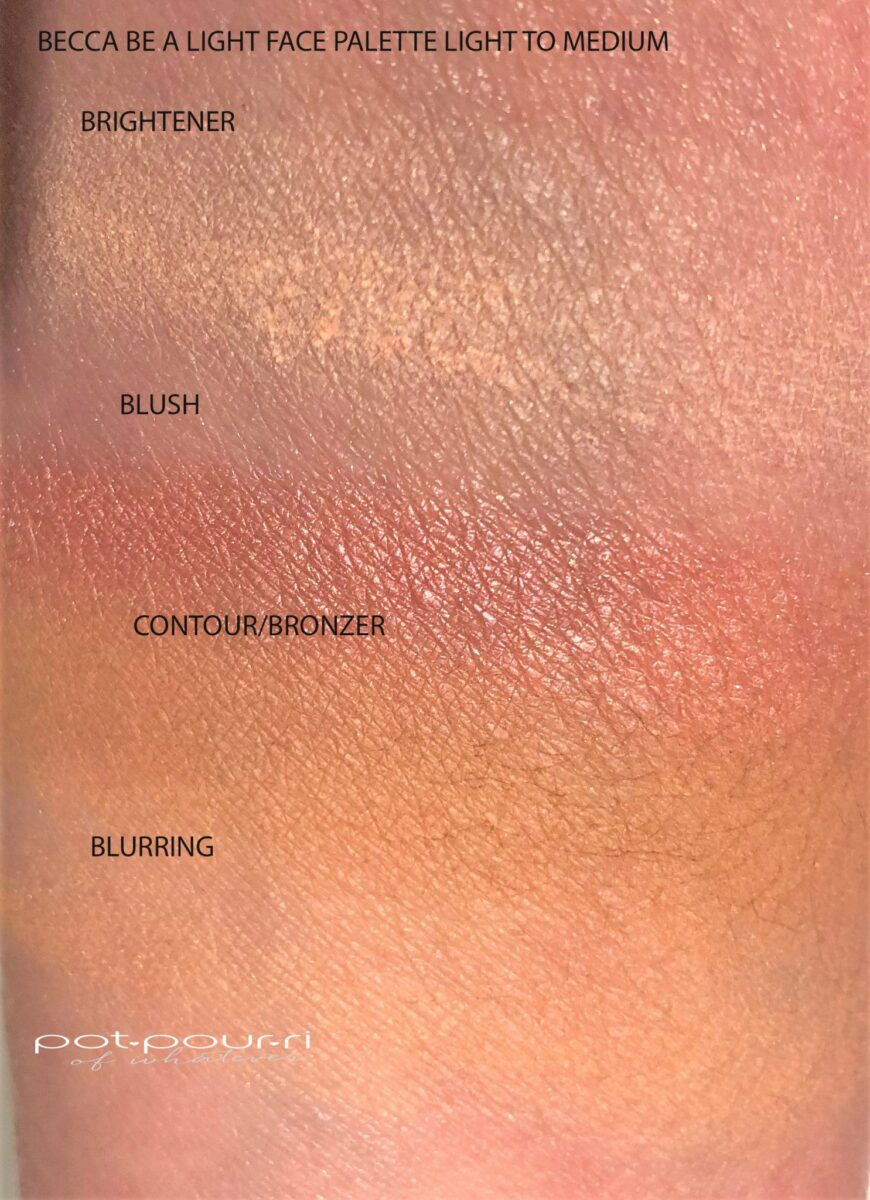 BECA LIGHT PALETTE LIGHT TO MEDIUM SWATCHES