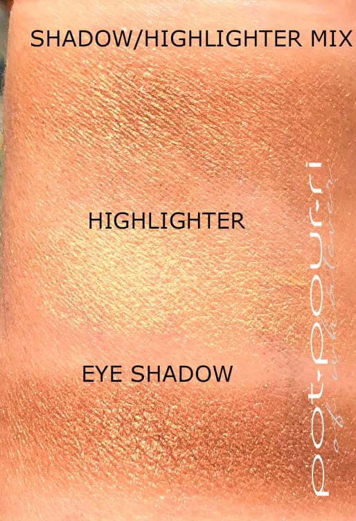 SWATCHES HIGHLIGHTER EYE SHADOW AND BOTH MIXED TOGETHER