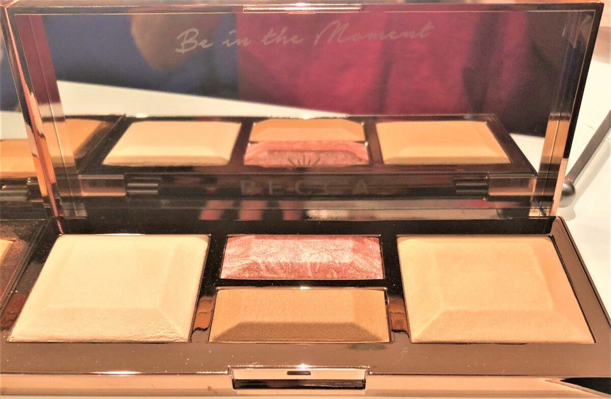 BECCA LIGHT PALETTE BE A LIGHT IN THE MOMENT ETCHED ON MIRROR IN LIGHT TO MEDIUM PALETTE