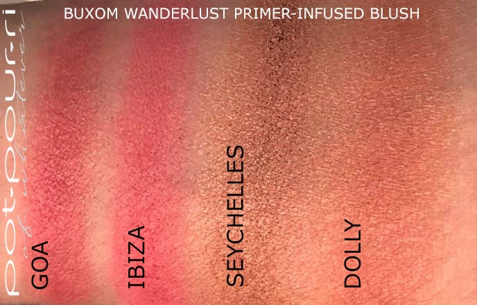 BUXOM WANDERLUST PRIMER INFUSED BLUSH SWATCHES