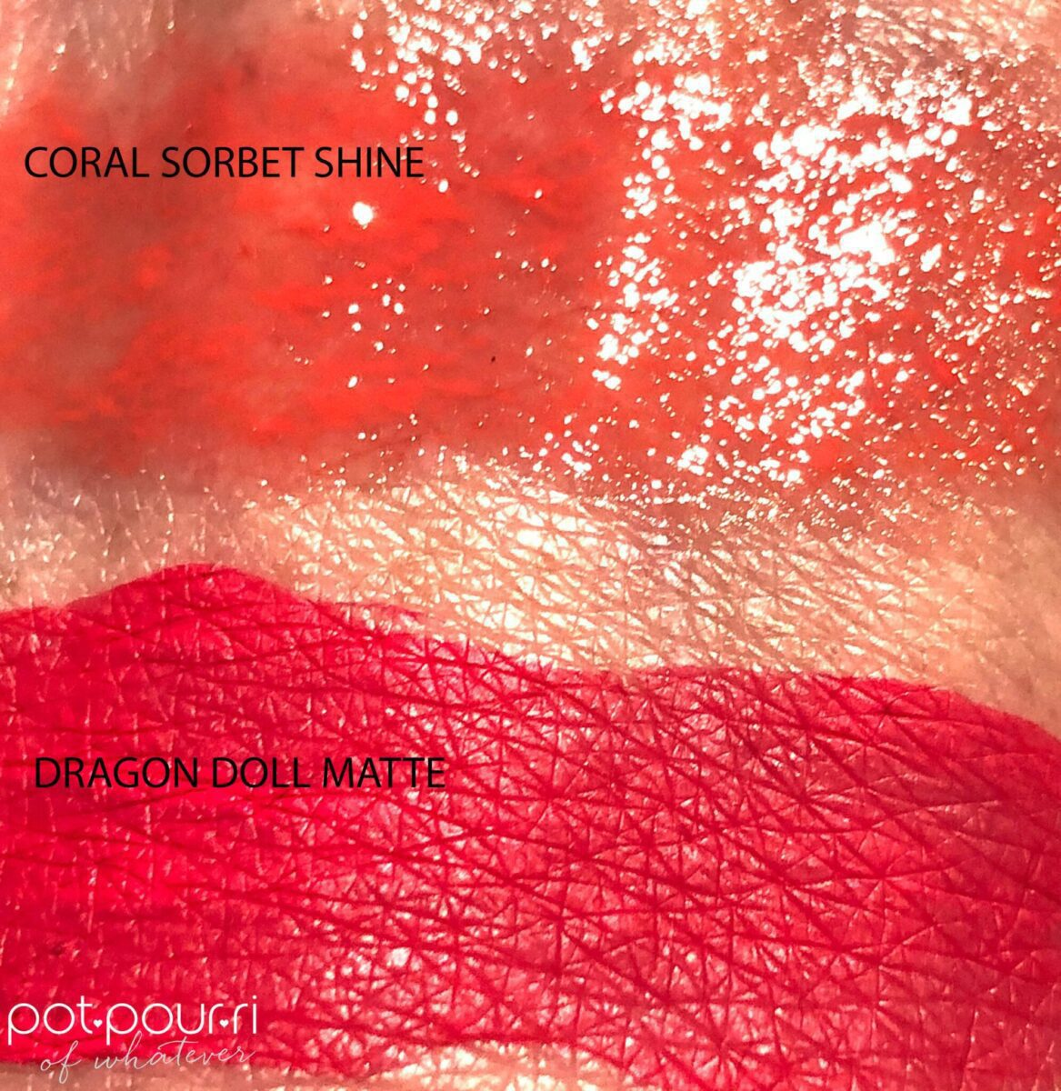 SWATCHES CORAL SORBET SHINE AND DRAGON DOLL MATTE FINISHES