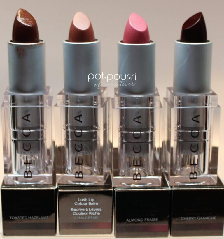 Becca-toasted-hazelnut-chaicream-almondfraise-cherryganache-lip-balm-color-lips