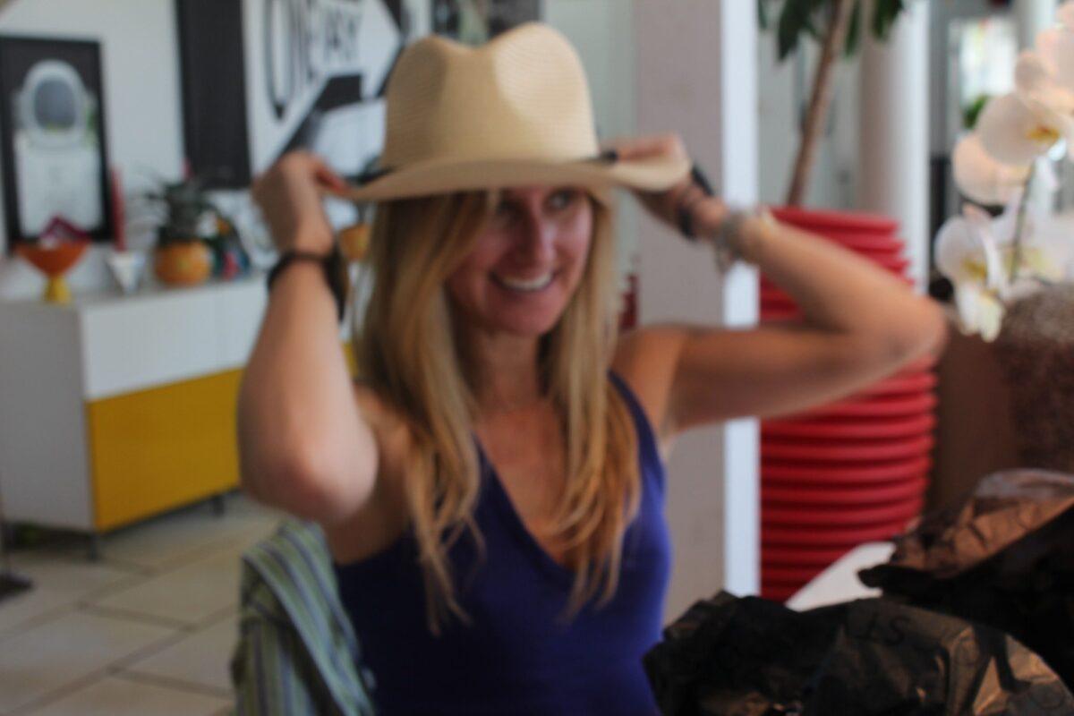 You look great in the Straw Panama Hat with pom pom ribbon Bikini!