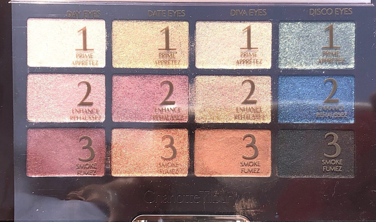 CHARLOTTE TILBURY ICONIC EYESHADOW PALETTE PLASTIC WITH DESCRIPTIONS