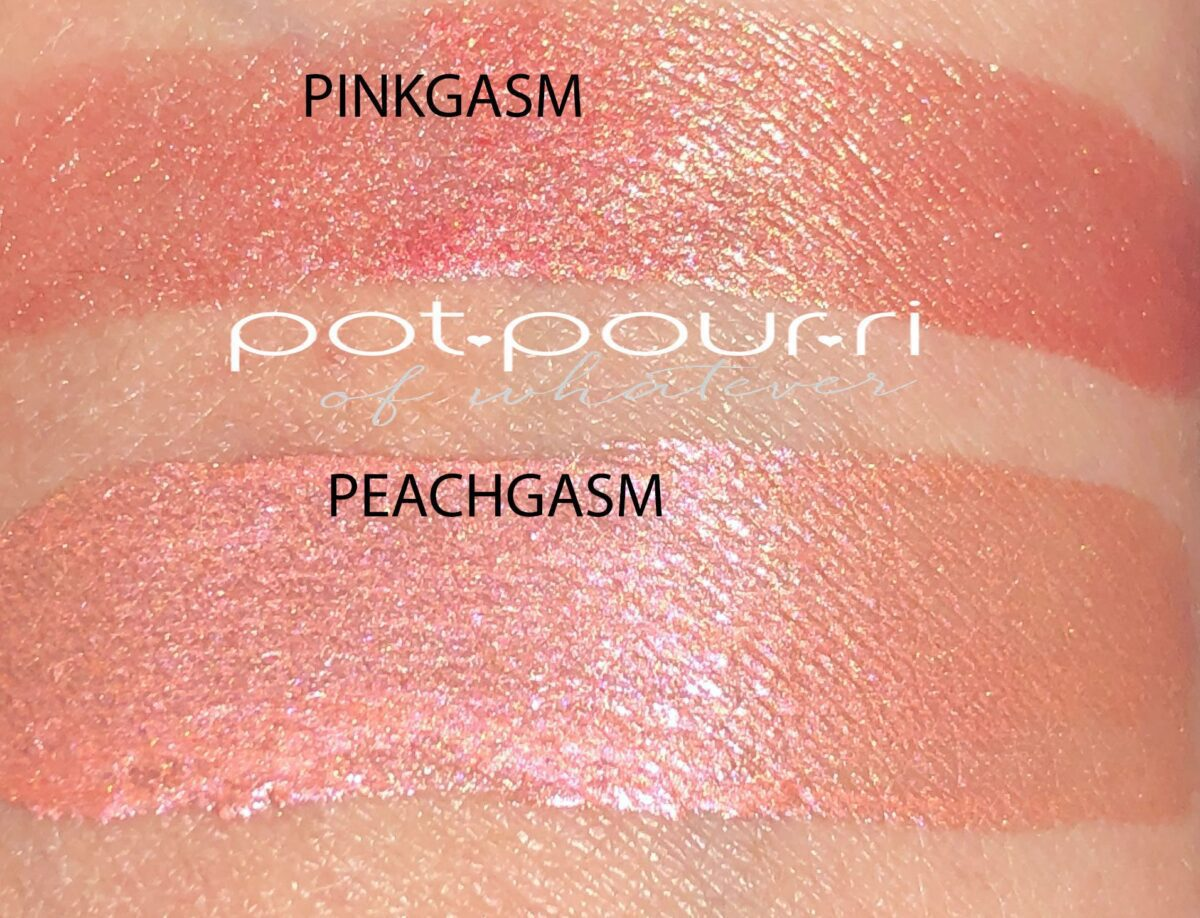 SWATCHES OF PINKGASM AND PEACHGASM