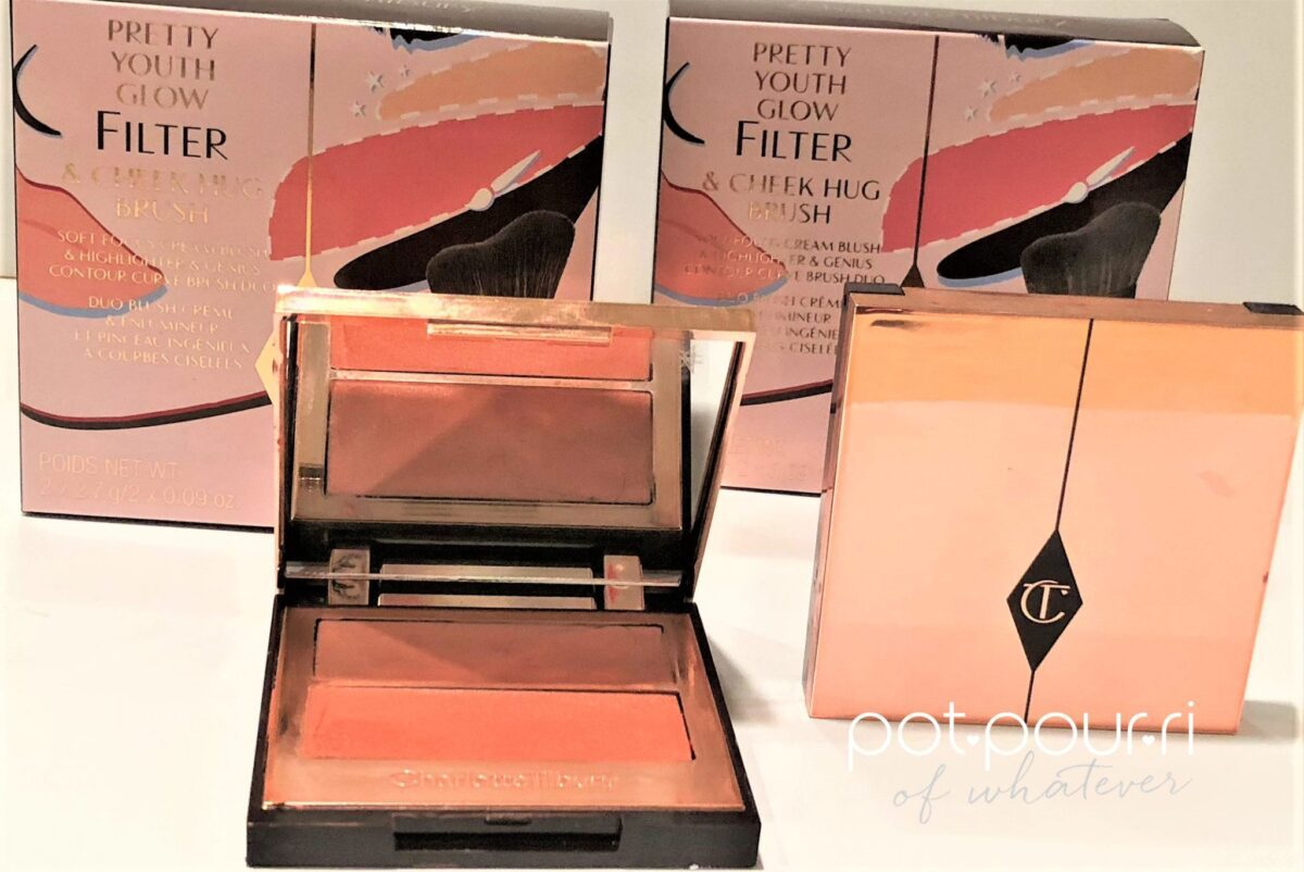 CHARLOTTE-TILBURY YOUTH GLOW FILTER PACKAGING, PALETTE-COMPACT, HUG BRUSH-BOXES