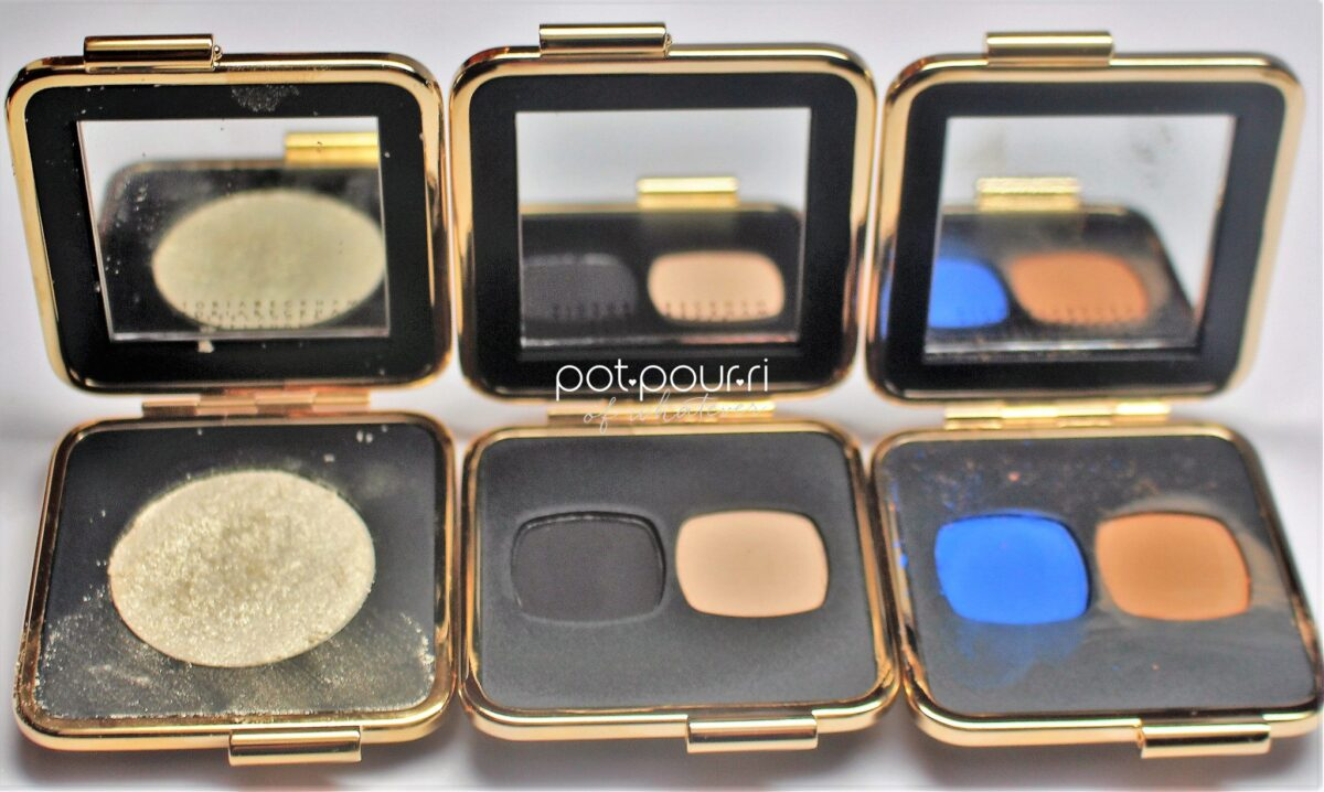 Estee Lauder Matte Eyeshadows in black, vanilla, navy blue and ochre, and a new chrome shade in blonde.