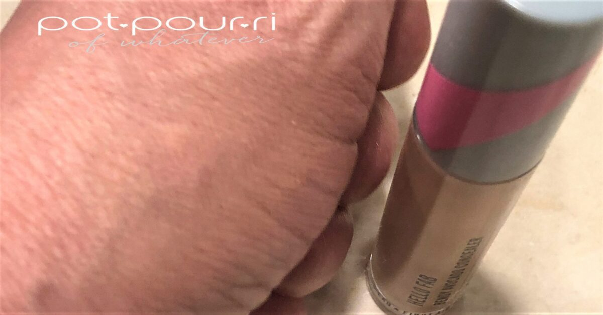 FIRST AID BEAUTY BENDY AVOCADO CONCEALER SWATCH BLENDED INTO SKIN MEDIUM