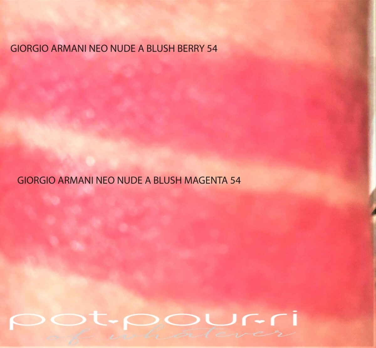 A BLUSH SWATCHES BERRY 54 AND MAGENTA 51