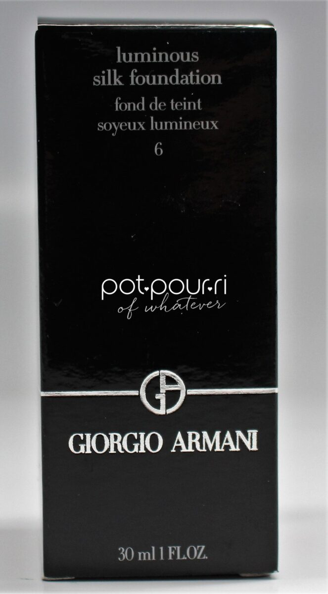 Giorgio Armani Luminous Silk Foundation in shade six-packaging