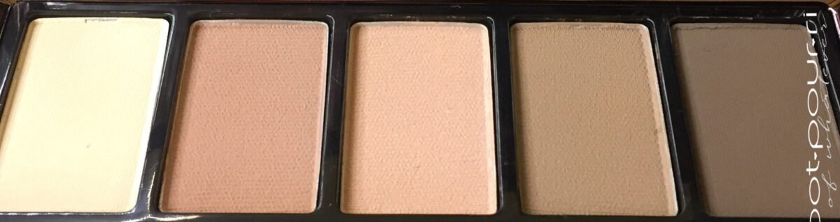 MYTH EYE SHADOWS FROM LEFT WARM BEIGE, DUSTY ROSE, NEUTRAL PEACH, SOFT BROWN, CHARCOAL BROWN