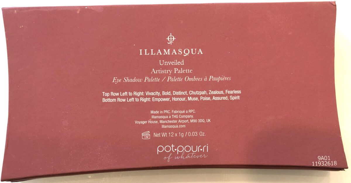 THE BACK OF THE ILLAMASQUA NUDE COLLECTION UNVEILED ARTISTRY COMPACT