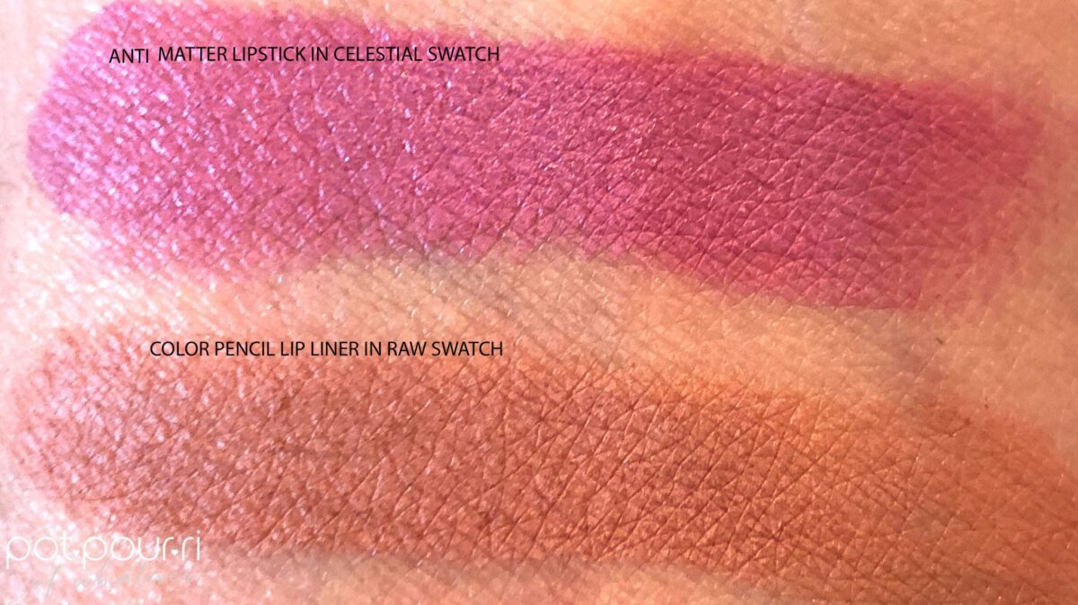 SWATCHES OF ANTIMATTER LIPSTICK IN CELESTIAL AND RAW COLOR LIP LINER