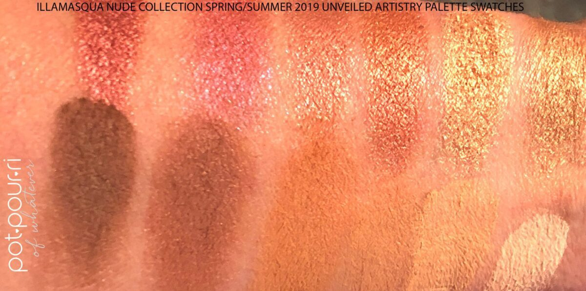 THE ILLAMASQUA NUDE COLLECTION UNVEILED ARTISTRY EYESHADOW PALETTE SWATCHES