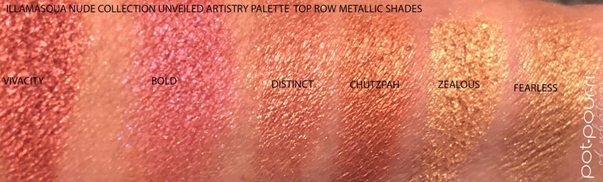 SWATCHES OF THE SIX TOP ROW METALLIC SHADES