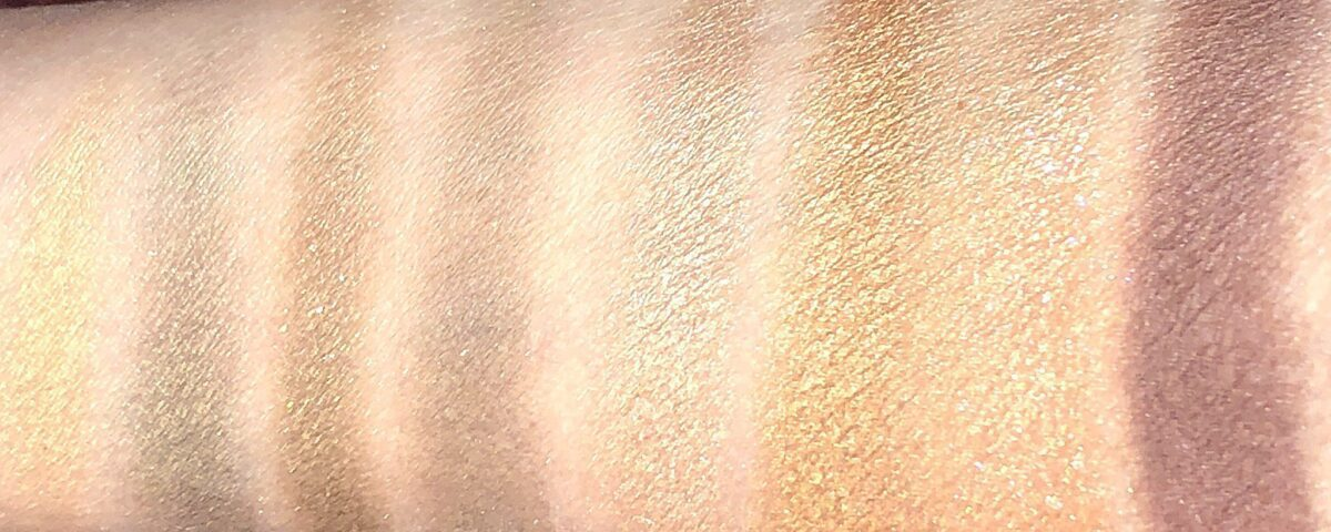 LEFT TO RIGHT REBEL PALETTE, AND QUEEN OF GLOW PALETTE SWATCHES