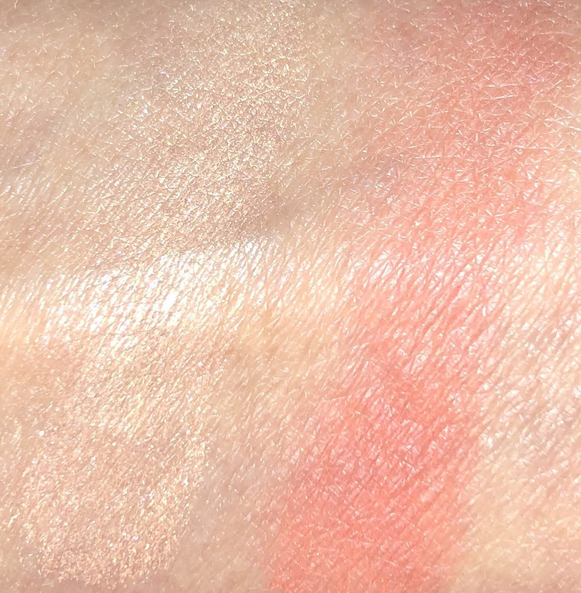 SWATCHES FROM CORAL PALETTE LEFT IS THE HIGHLIGHTER , AND ON THE RIGHT IS THE CORAL BLUSH