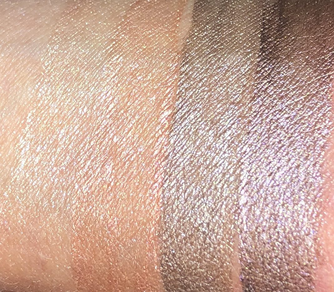 SWATCHES OF THE CHANEL LONGWEAR LIQUID EYESHADOWS OMBRE PREMIERE LAQUE IN RAYON, RISING SUN, DESERT WIND, AND VASTNESS