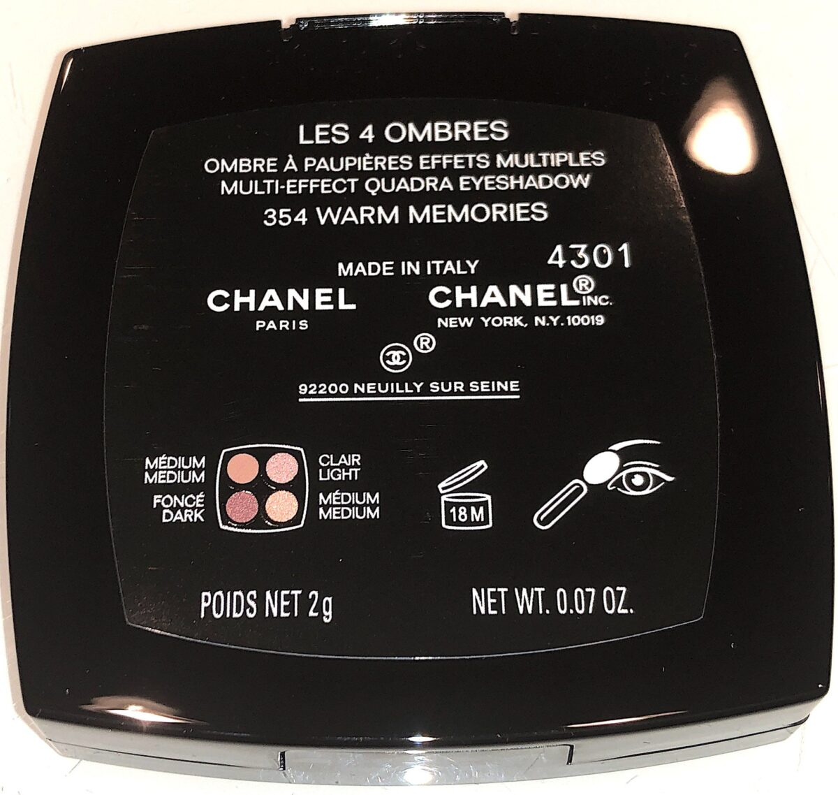 THE BACK OF THECHANEL 354 WARM MEMORIES LES 4 OMBRES PALETTE