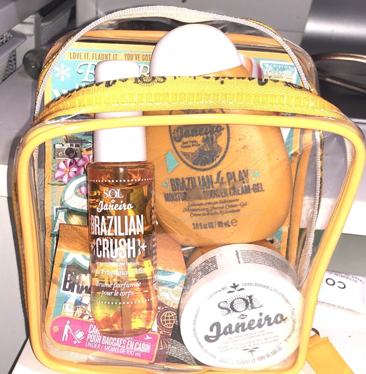 SOL JANEIRO BUM BUM JET SET BAG WITH PRODUCTS