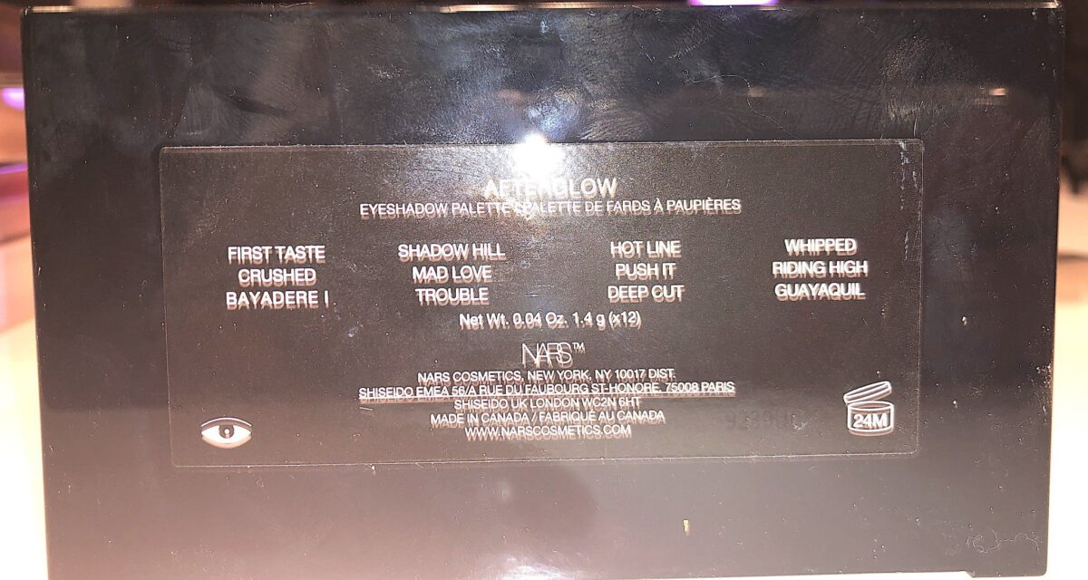 THE AFTERGLOW EYESHADOW PALETTE'S SHADE NAMES ARE ON BACK OF THE PALETTE