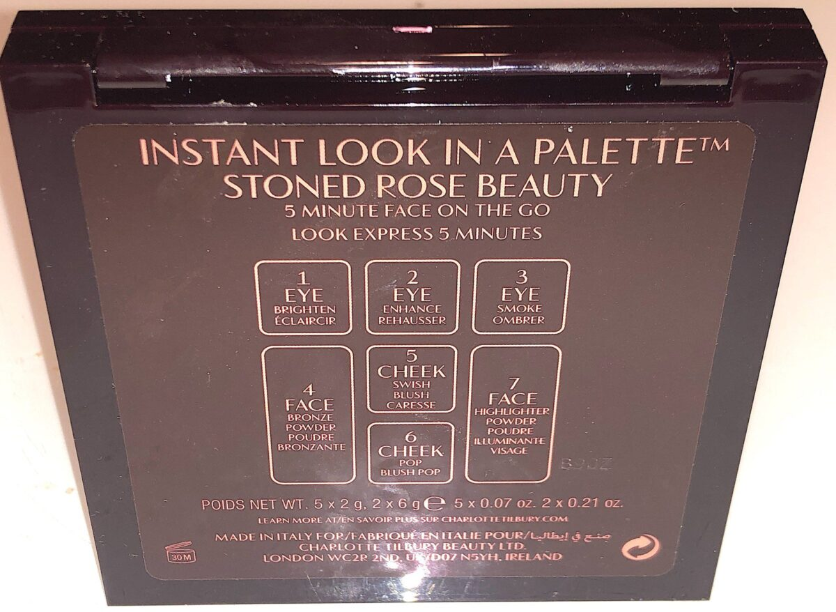 BACK OF THE CHARLOTTE TILBURY STONED ROSE INSTANT LOOK IN A FACE PALETTE