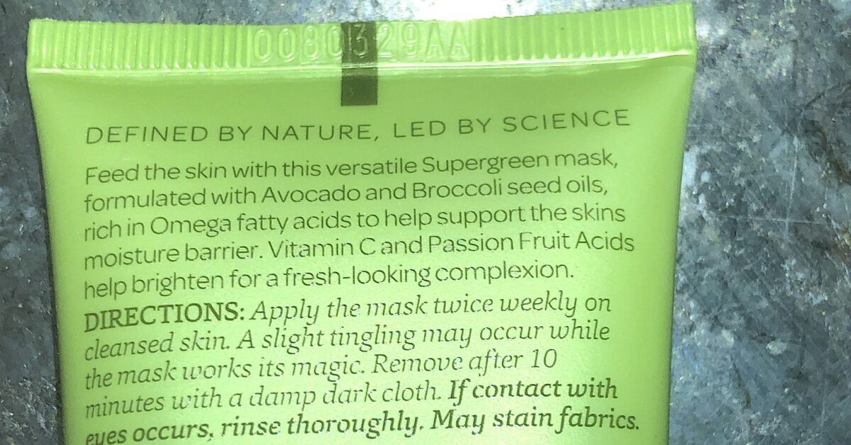 ELEMIS VEGGIE MASK INGREDIENTS