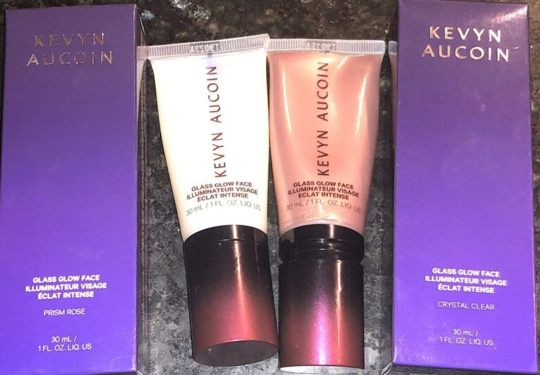 KEVYN AUCOIN GLASS GLOW FACE OUTER PACKAGING, LIQUID HIGHLIGHTER TUBES WITH LIDS