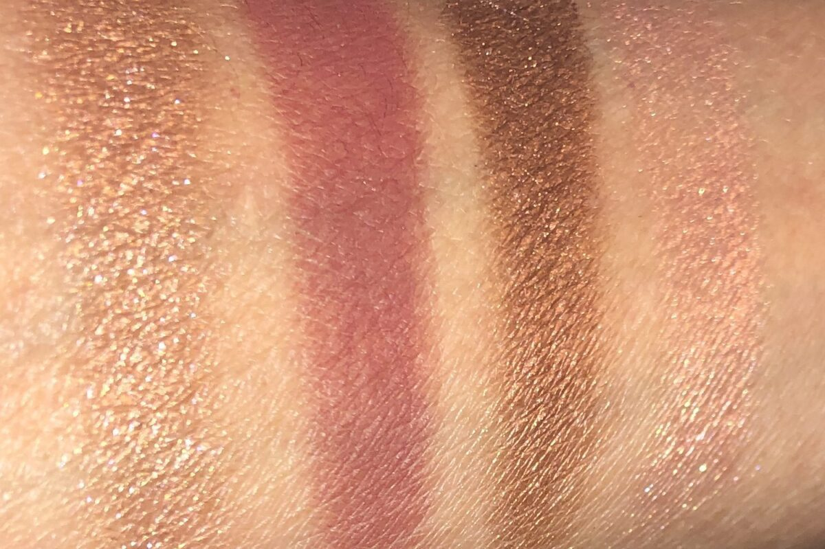 Fire Rose Luxury Palette swatches r to l: Prime, Enhance, Smoke, Super Pop