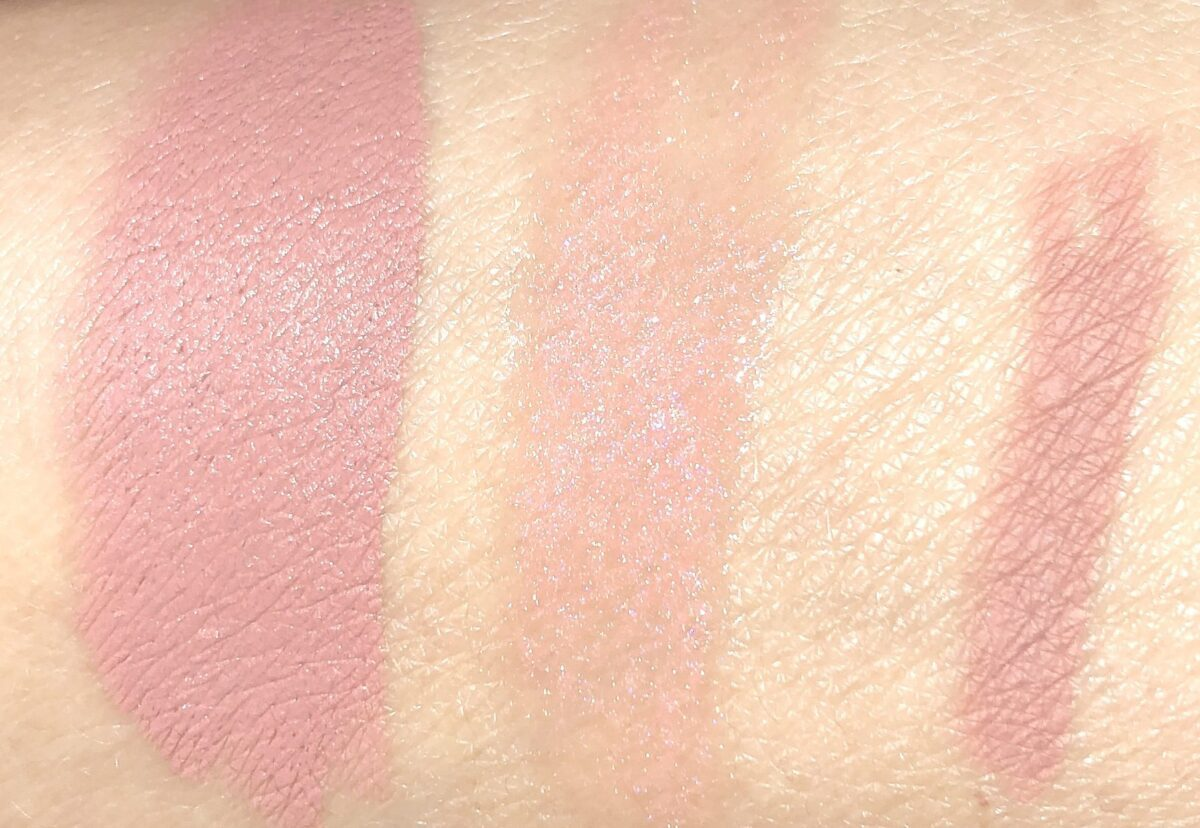 DIVINE ROSE LIP TRIO SWATCHES: L TO R: CHRISTY LIPSTICK, PEACH PERVERSION LIP GLOSS, AND BUFF LIP LINER
