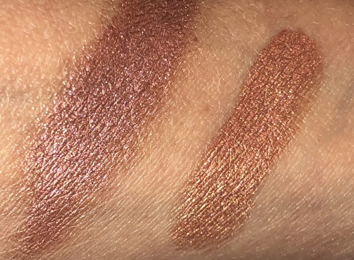 FIRE ROSE CREAM EYES TO MESMERIZE SWATCHES: L TO R: SUNSET ROSE, COPPER SUNRISE