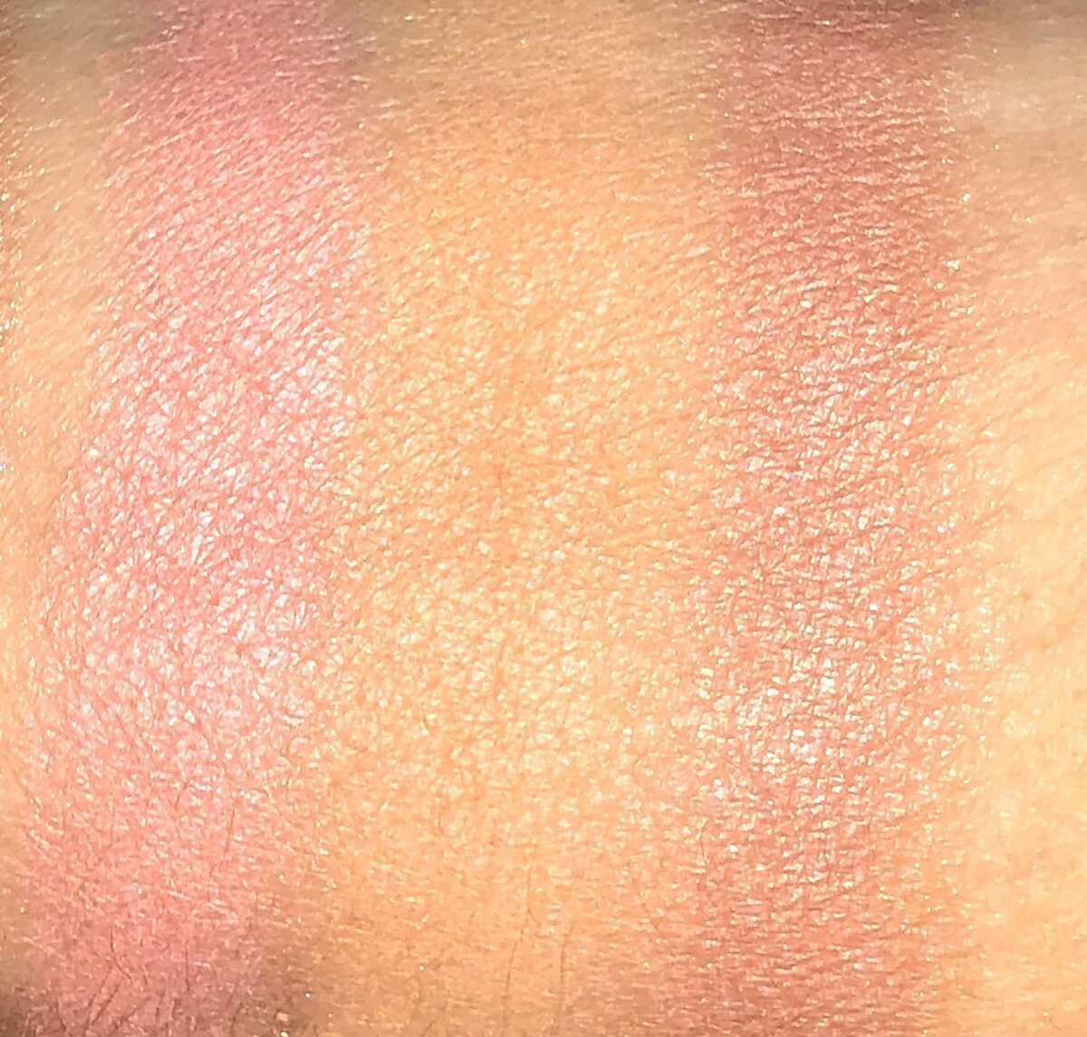 THE SWATCHES OF THE BLUSH SHADES L TO R : LET IT BURN, GET LOST, AND BODY TALK