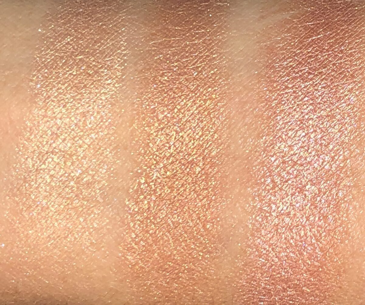 L TO R: SWATCHES HIGHLIGHTER SHADES TIED UP, DEEP DOWN AND DRIFT