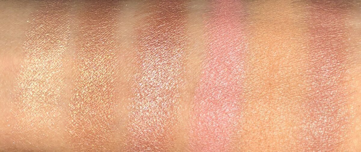 SWATCHES FOR THE NARS OVERLUST CHEEK PALETTE L TO R: TIED UP; DEEP DOWN; DRIFT; LET IT BURN; GET LOST; BODY TALK