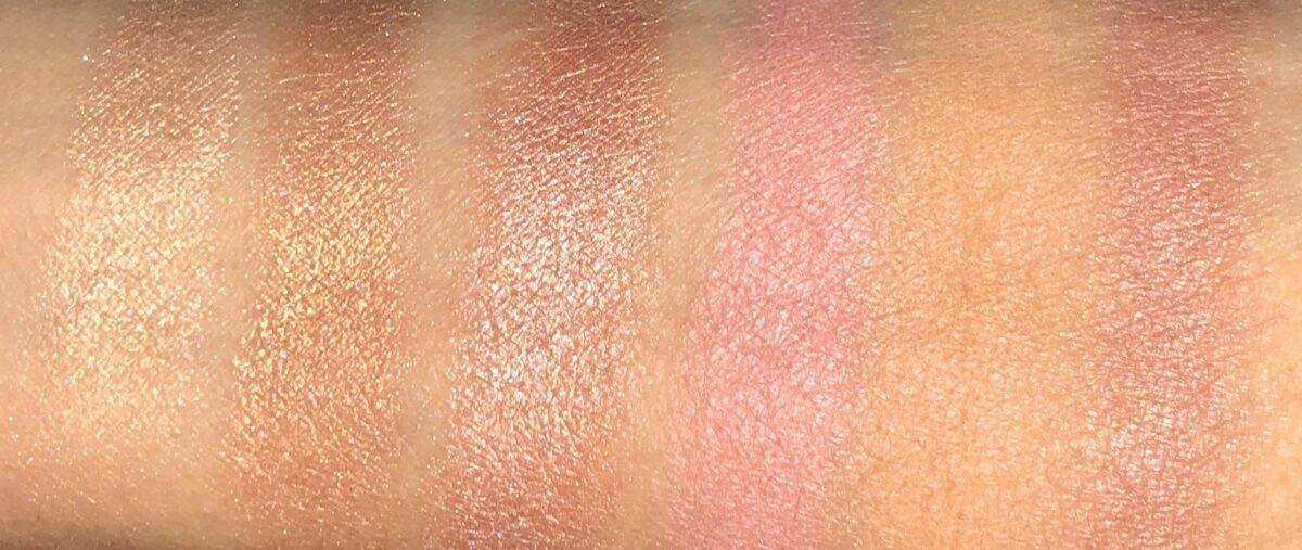 SWATCHES OF THE NARS OVERELUST CHEEK PALETTE L TO R : TIED UP; DEEP DOWN, DRIFT; LET IT BURN; GET LOST; AND BODY TALK
