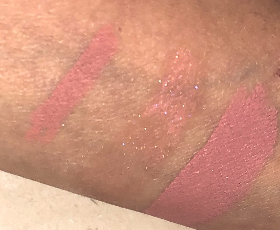 SWATCHES OF THE DIVINE ROSE LIP TRIO, L TO R- BUFF LIP LINER, LUST GLOSSIN PEACH PERVERSION, AND MATTE TRANCE LIPSTICK IN CHRISTY