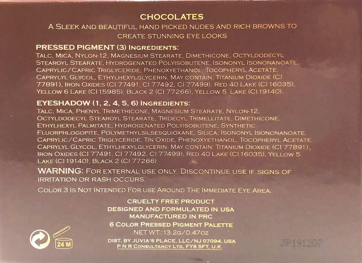 THE INGREDIENTS FOR THE CHOCOLATES