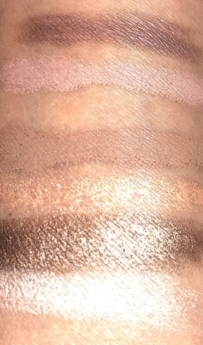 SWATCHES T TO B: DUSTY MAUVE / MALTED PINK; PEACH MIMOSA/TAUPE; BRONZE/TRUFFLE